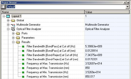 Optical System - Figure 8 - Filter Analyzer graphs and results