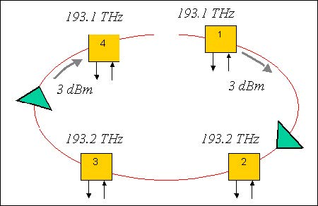 Optical System - Figure 6 -  Ring network layout with two amplifiers