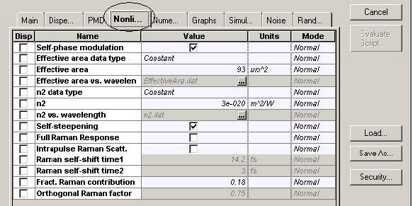 Optical System - Figure 4 -  Fiber parameters