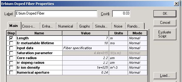 Optical System - Figure 3 - Er doped fiber specifications