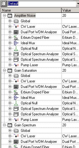 Optical System - Figure 1 - Three different layouts created in this project file