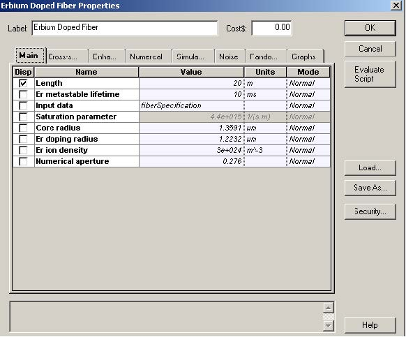 Optical System Erbium-doped fiber characteristics (a) Main tab and (b) Enhancement tab
