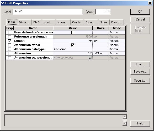Optical System - Figure 3 - SMF-28 fiber properties dialog box—Main tab