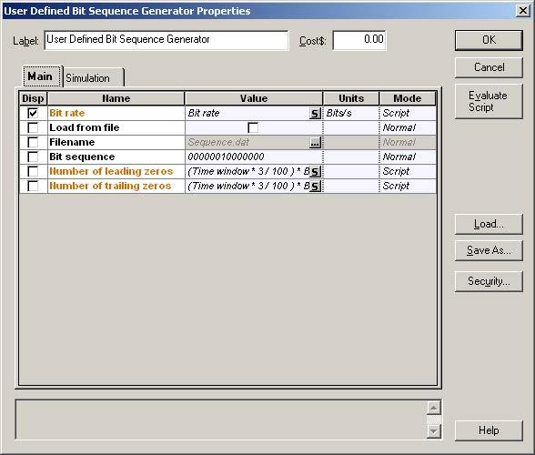 Optical System - Figure 15 -  Bit sequence generator parameters