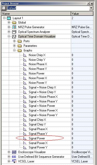 Optical System - Figure 19 - Selecting the signal power graphs