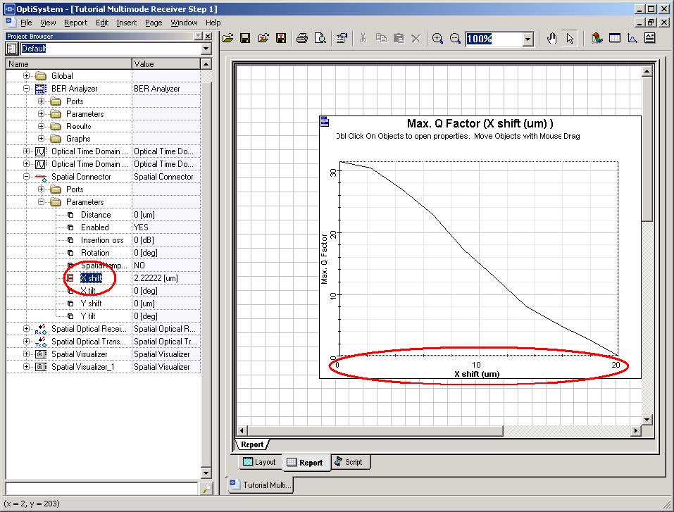 Optical System - Figure 20 - Combining parameters and results after using report page
