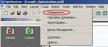 Optical System - Figure 20 -  Optimizations option at the Tools menu