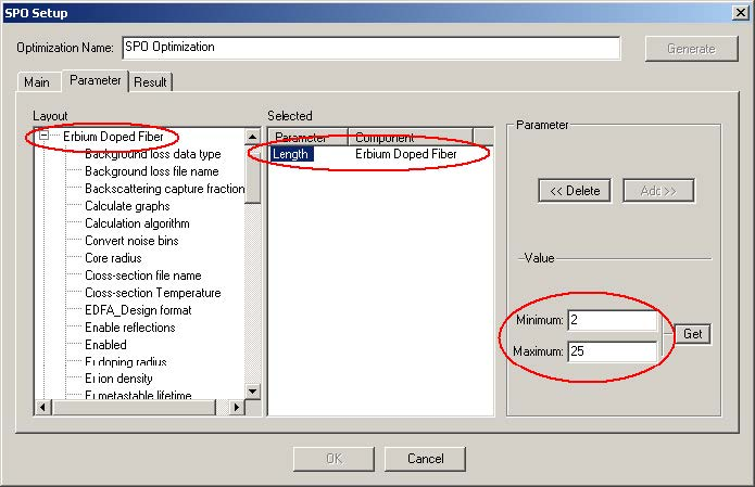 Optical System - Figure 23 - SPO Setup window at the Parameter tab