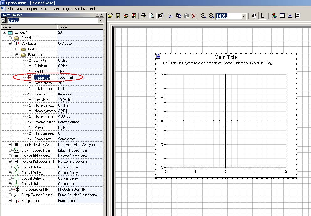 Optical System - Figure 14 -  View of the report page with the graph opened and the Frequency parameter selected