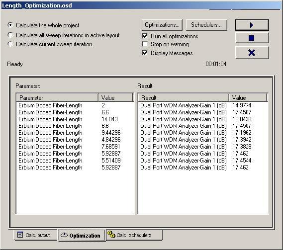 Optical System - Figure 26 - (a) Optimization tab and (b) Calc. Output tab