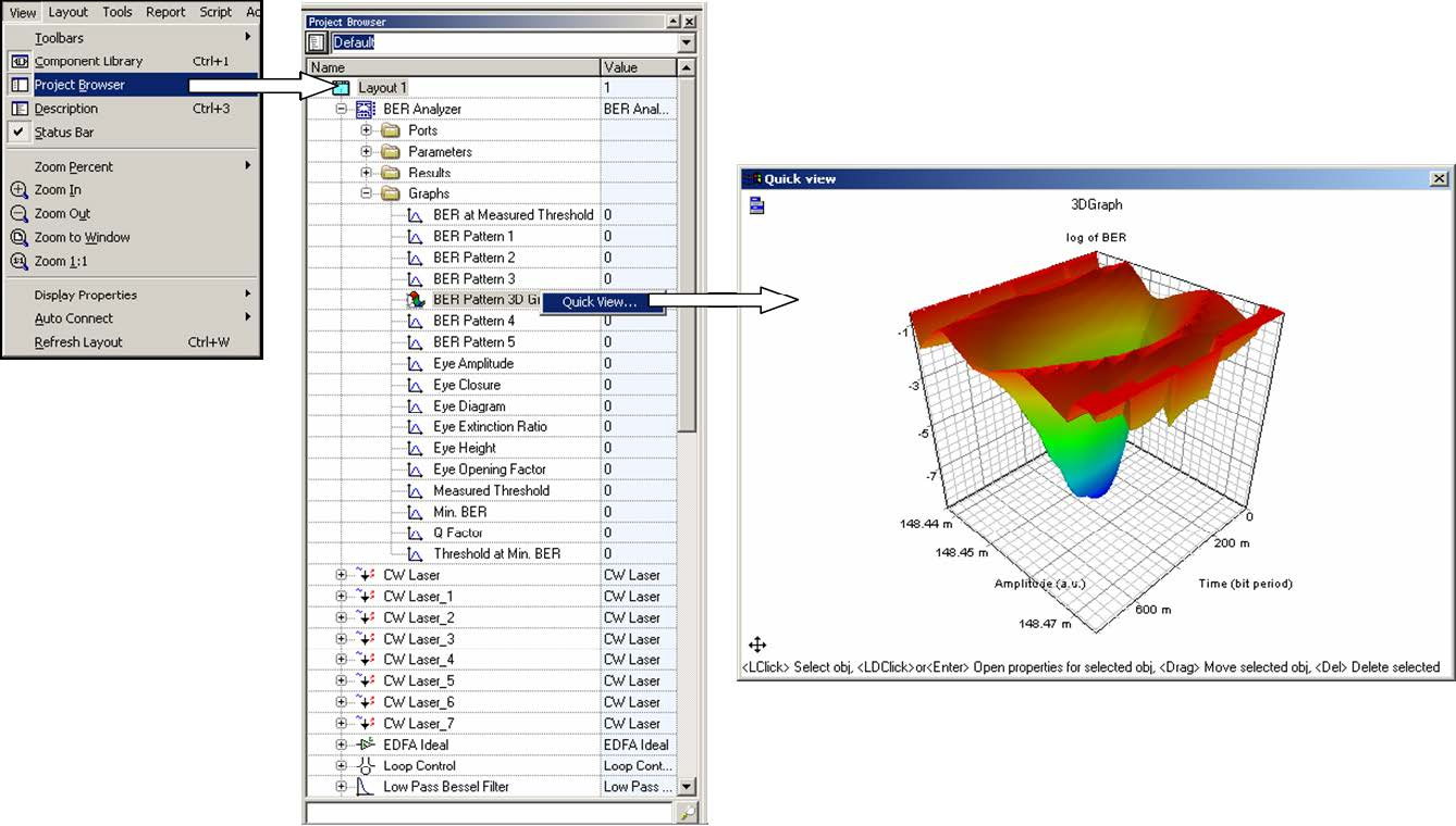 Optical System - Figure 19 -  3D graphs from the project browser