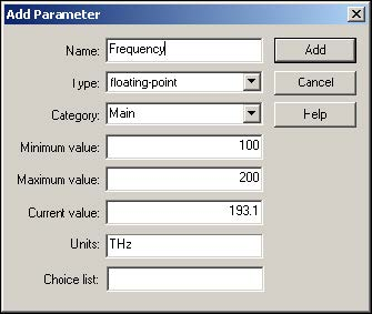 Optical System - Figure 11 -  Add Parameter dialog