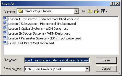 Optical System - Figure 28 - Save As dialog box