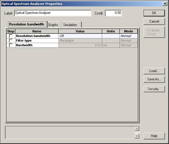 Optical System - Figure 25 -  Visualizers parameter dialog
