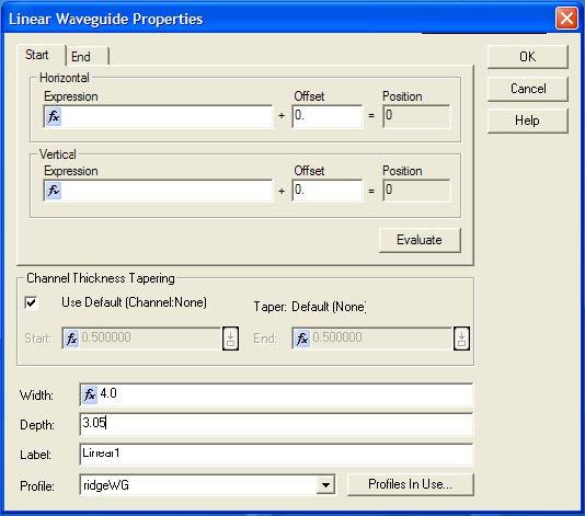 BPM - Figure 10 Adjust Depth of waveguide Profile to 3.05