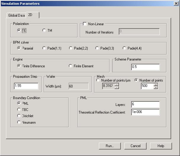 BPM - Figure 3 Simulation Parameters dialog box — 2D tab