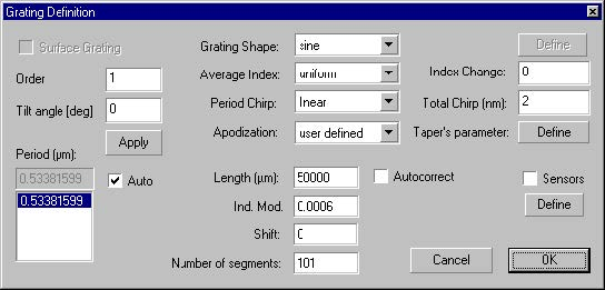 Optical Grating - Grating Manager dialog box,