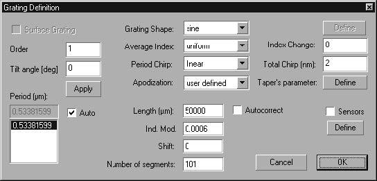 Optical Grating - Grating Definition dialog box