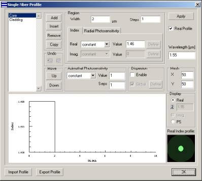 Optical Grating - Single Fiber dialog box