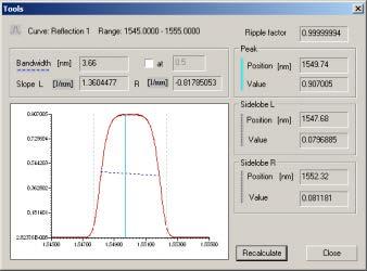 Optical Grating - Tools dialog