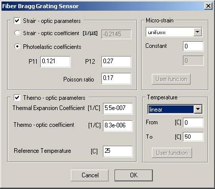 Optical Grating - Grating Definition dialog box,