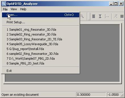 FDTD - Figure 49 File menu