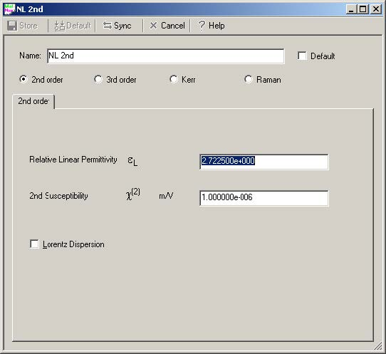 FDTD - Figure 8 FDTDNonlinear1 material definition dialog box