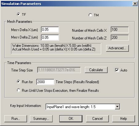 FDTD - Figure 11 Simulation Parameters dialog box