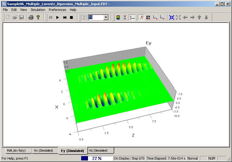 FDTD - Figure 5 View simulation results in OptiFDTD_Analyzer