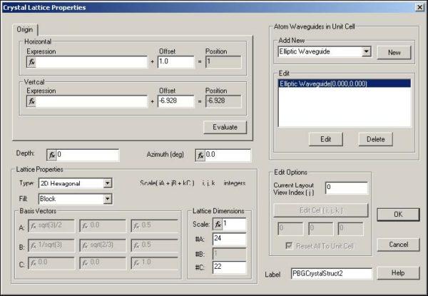FDTD - Figure 86 Crystal Lattice Properties dialog box