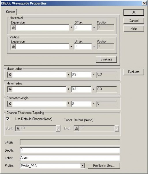 FDTD - Figure 87 Elliptic Waveguide Properties dialog box