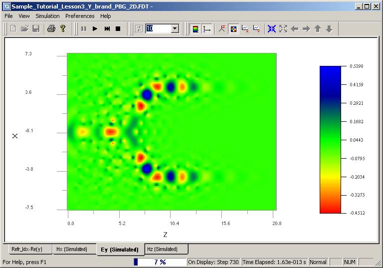 FDTD - Figure 96 Wave propagation in OptiFDTD Simulator