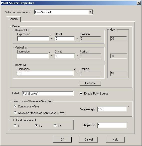 FDTD - Figure 84 Point Source Properties dialog box