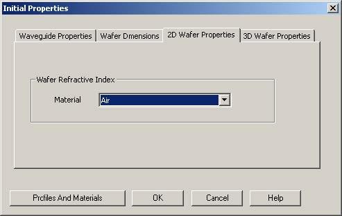 FDTD - Figure 9 Initial Properties dialog box—2D Wafer Properties tab