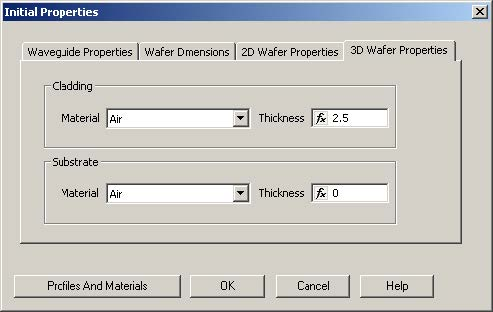 FDTD - Figure 10 Initial Properties dialog box—3D Wafer Properties tab