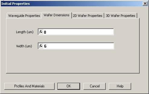 FDTD - Figure 8 Initial Properties dialog box—Wafer Dimensions tab
