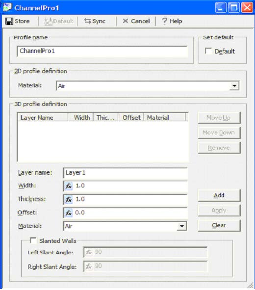 FDTD - Figure 8 Channel Profile dialog box
