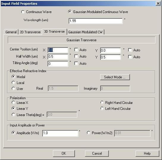FDTD - Figure 79 3D Transverse dialog box