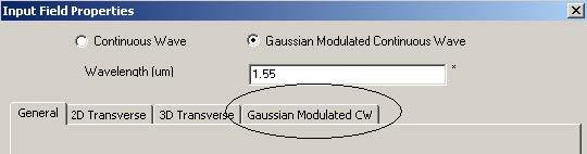 FDTD - Figure 67 Input Field Properties dialog box—Gaussian Modulated CW tab