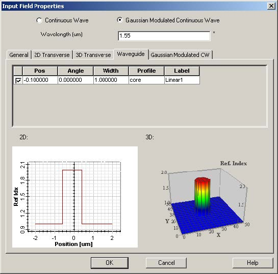 FDTD - Figure 81 Waveguide position