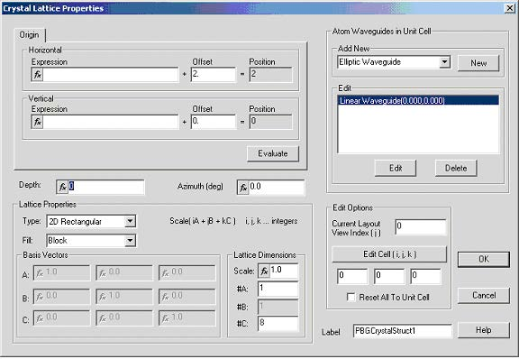 FDTD - Figure 1 Crystal lattice Properties dialog box