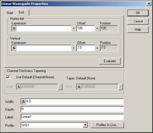 BPM - Figure 7 Linear Waveguide Properties dialog box
