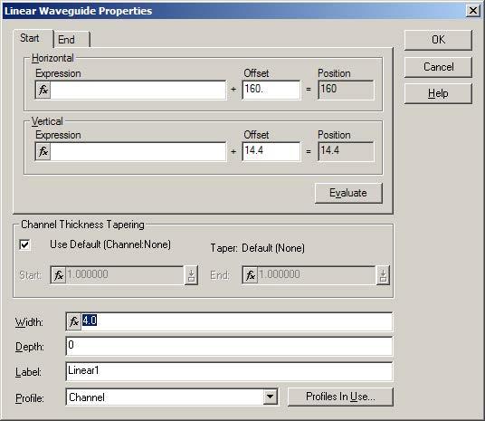 BPM - Figure 6 Linear Waveguide Properties dialog box