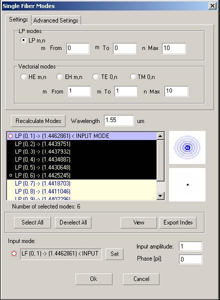 Optical Grating - Single Fiber Modes dialog box