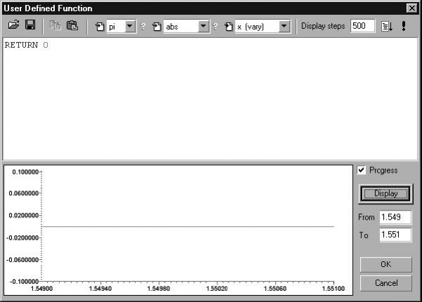 Optical Grating - User defined dialog box