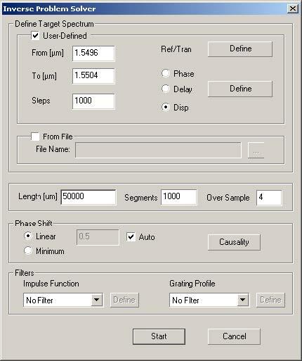 Optical Grating - Inverse Problem Solver dialog box