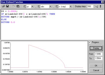 Optical Grating - User Defined Function