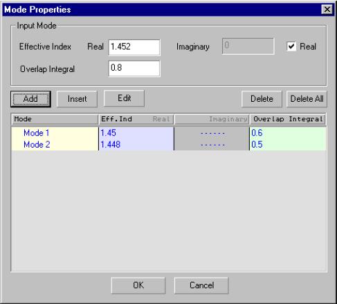 Optical Grating - mode properties dialog box