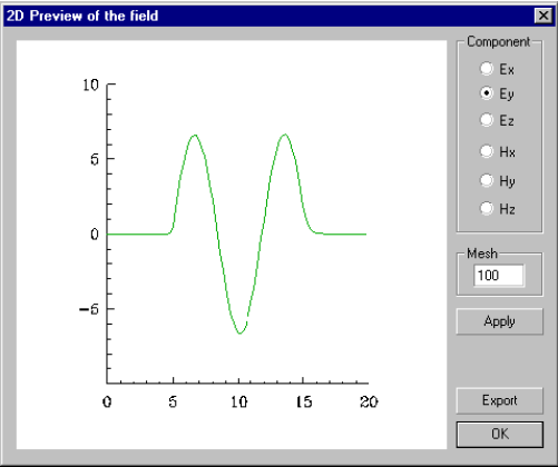 Optical Grating - 2D Preview of the field dialog box