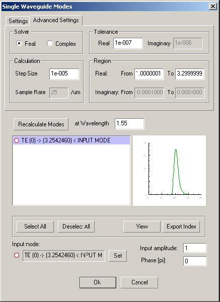 Optical Grating - Single Waveguide Modes dialog box